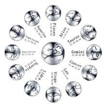 CodeMonkey ของแท้ 925 เงินสเตอร์ลิง 12 Constellation Zodiac รอบลูกปัดพอดีสร้อยข้อมือ PANDORA สร้อยข้อมือ Charms เครื่องประดั...