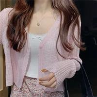 white viscose fiber knitted cardigan women summer sunscreen long sleeve short jacket new style thin outdoor top girl cool shirt
