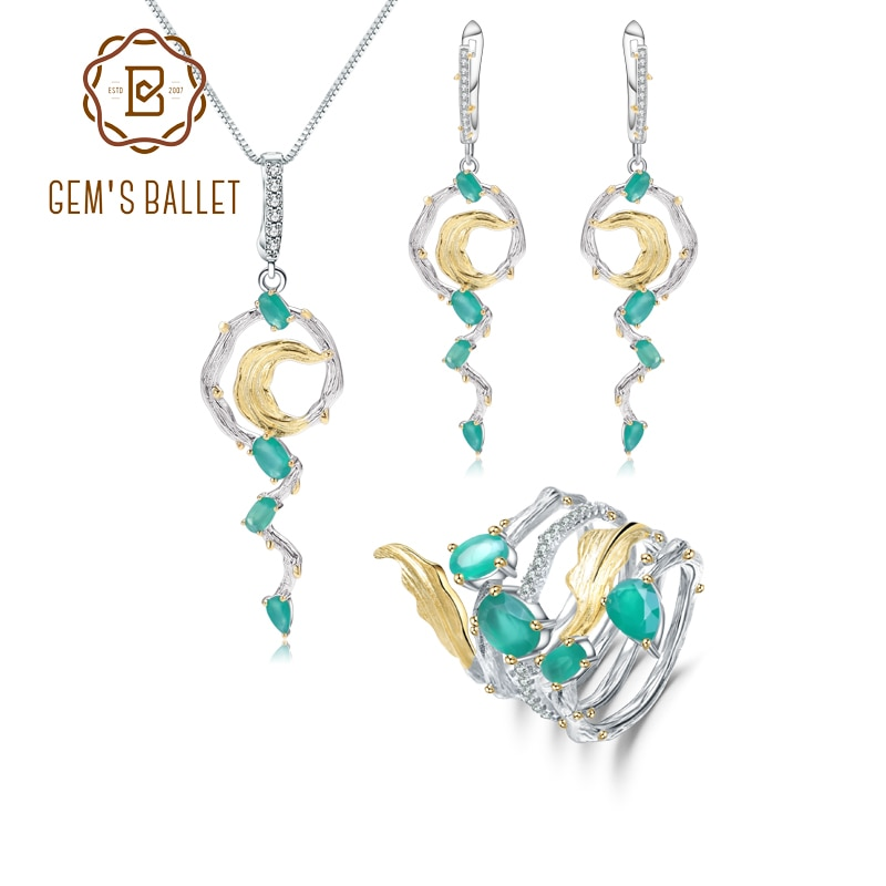 GEM'S BALLET 925 Sterling Silver Vintage Gothic Jewelry Sets Natural Green Agate Gemstone Pendant Earrings Ring Set For Women
