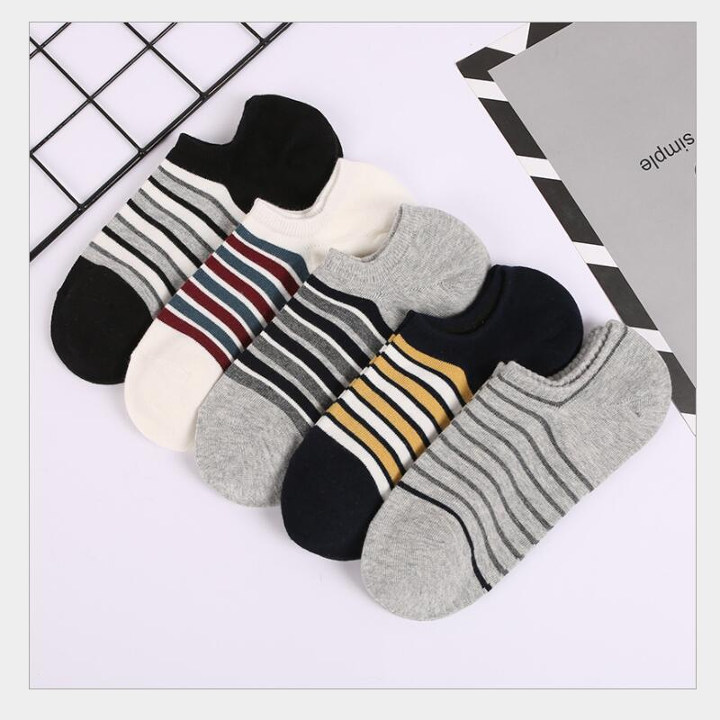 Men Solid Cotton Striped Ankle Socks Boys Black White Grey Navy Charcoal Stripes Boat No Show Short Sock 5Pairs/lot
