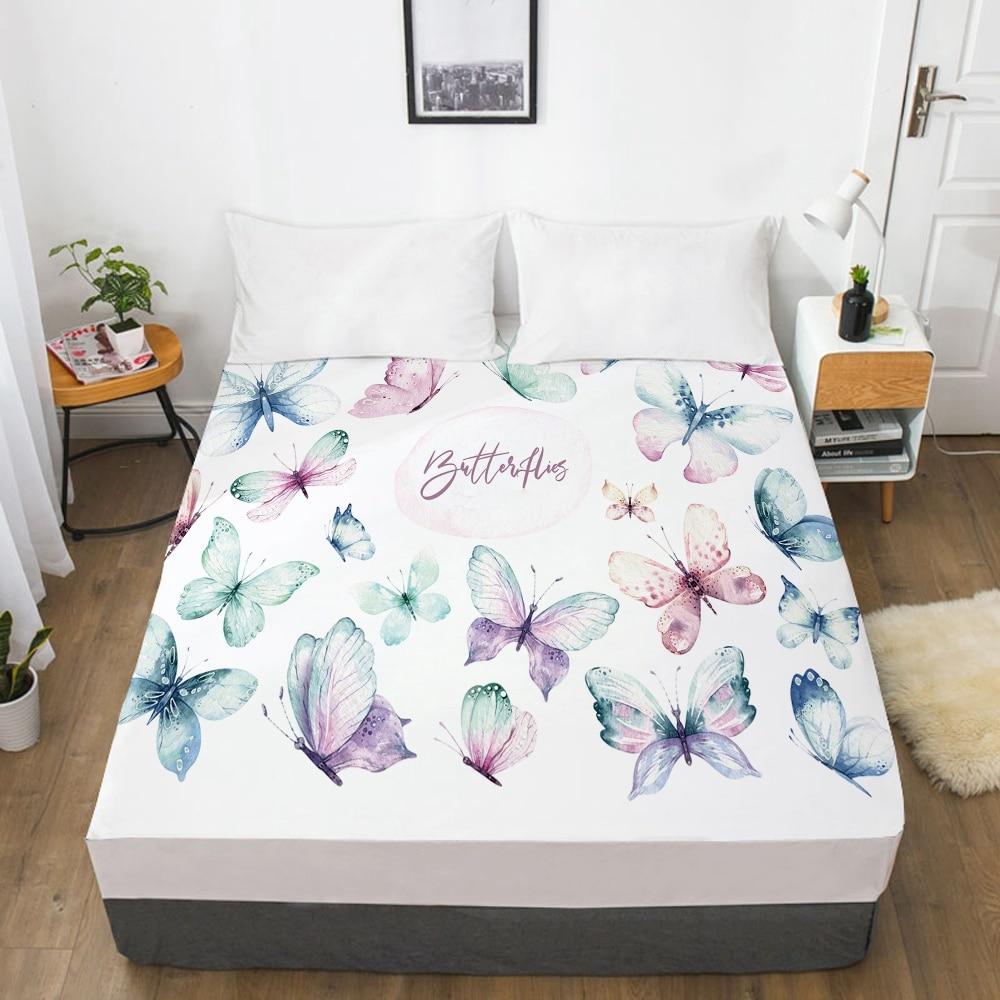 غطاء سرير مرن مناسب مع شريط مرن 150x20 0/180/200/160x200 غطاء مرتبة غطاء سرير 1 قطعة فراشة بيضاء