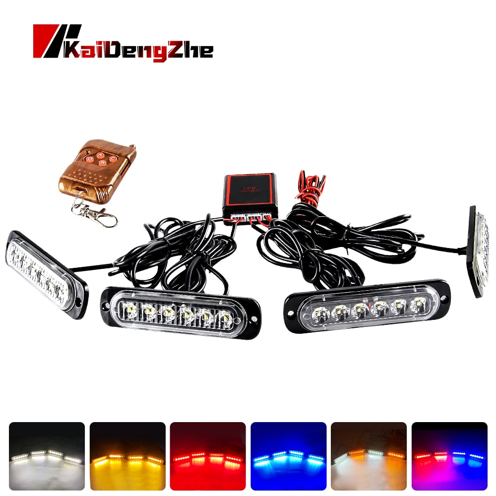 Luz estroboscópica remota inalámbrica LED 4X6, luz estroboscópica de policía, baliza luminosa para camión, advertencia de emergencia intermitente, luz Interior de coche de bomberos 12-24V