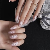 fairy nail art pearl decoration wearable false nails with glue 24pcs per box with wear tools