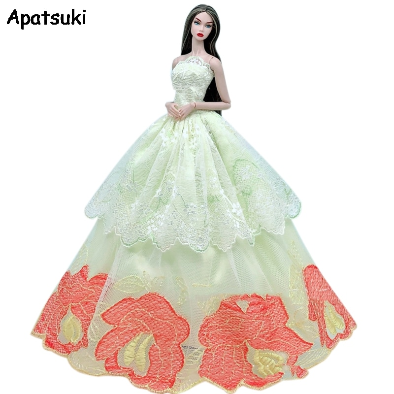 Light Yellow Lace Flower Wedding Dress For Barbie Doll Clothes Multi-layer Outfits Party Gown For 1/6 BJD Dolls Accessories Toys