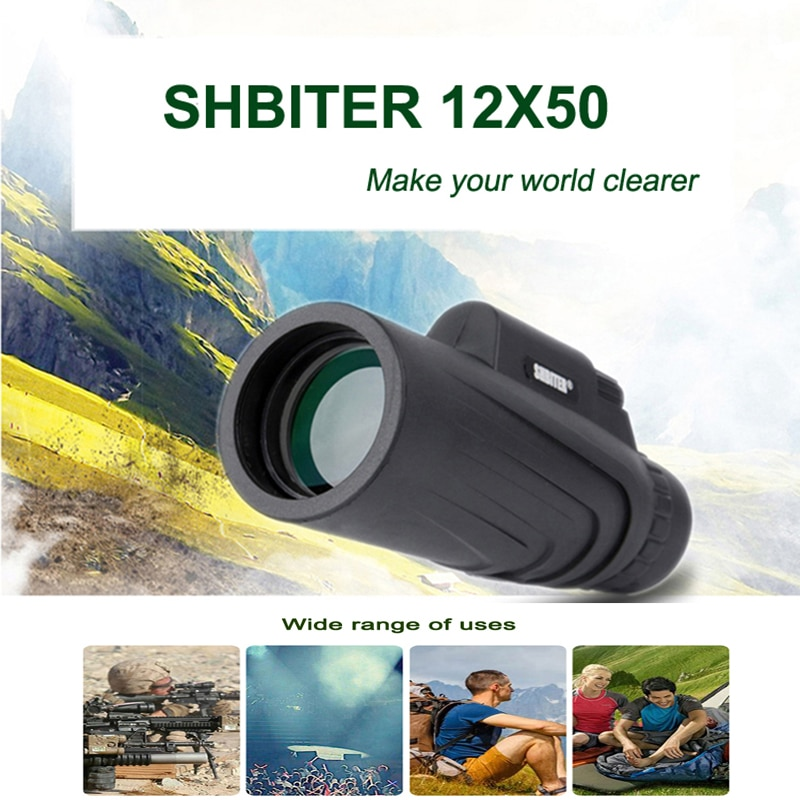 SHBITER 12X50 Powerful Monoculars Binoculars Zoom Field Glasses Great Handheld Telescope with Phone