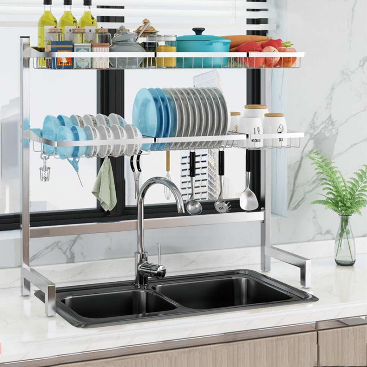 2 طبقات الفولاذ المقاوم للصدأ أطباق الرف المزدوج بالوعة استنزاف الرف متعددة الاستخدام المطبخ المنظم رف طبق الرف على بالوعة تجفيف الرف حامل