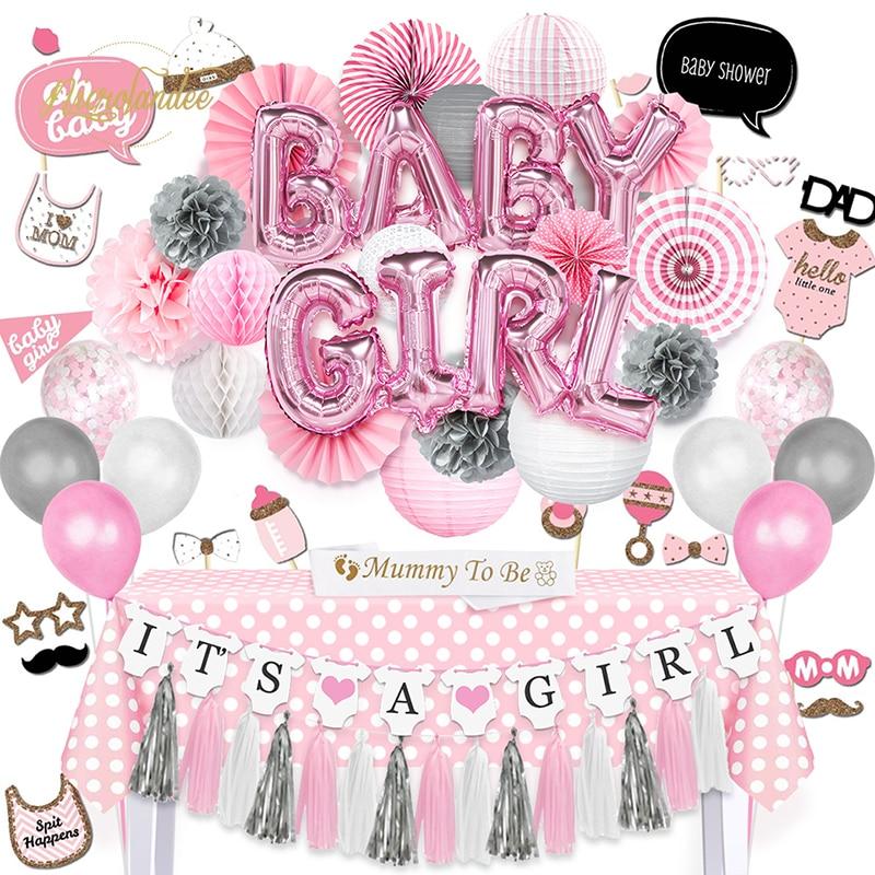 NICROLANDEE 92 unids/set BABY GIRL Shower DIY globo linternas de papel tejido Poms Fans rectángulo mantel mamá para ser Sash Props