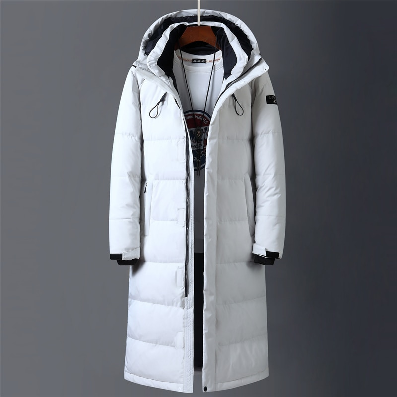2020 Winter 90% White Duck Down Jacket Men Hooded Fashion top Long Thicken Warm Down Coat Loose Overcoat Parkas clothing