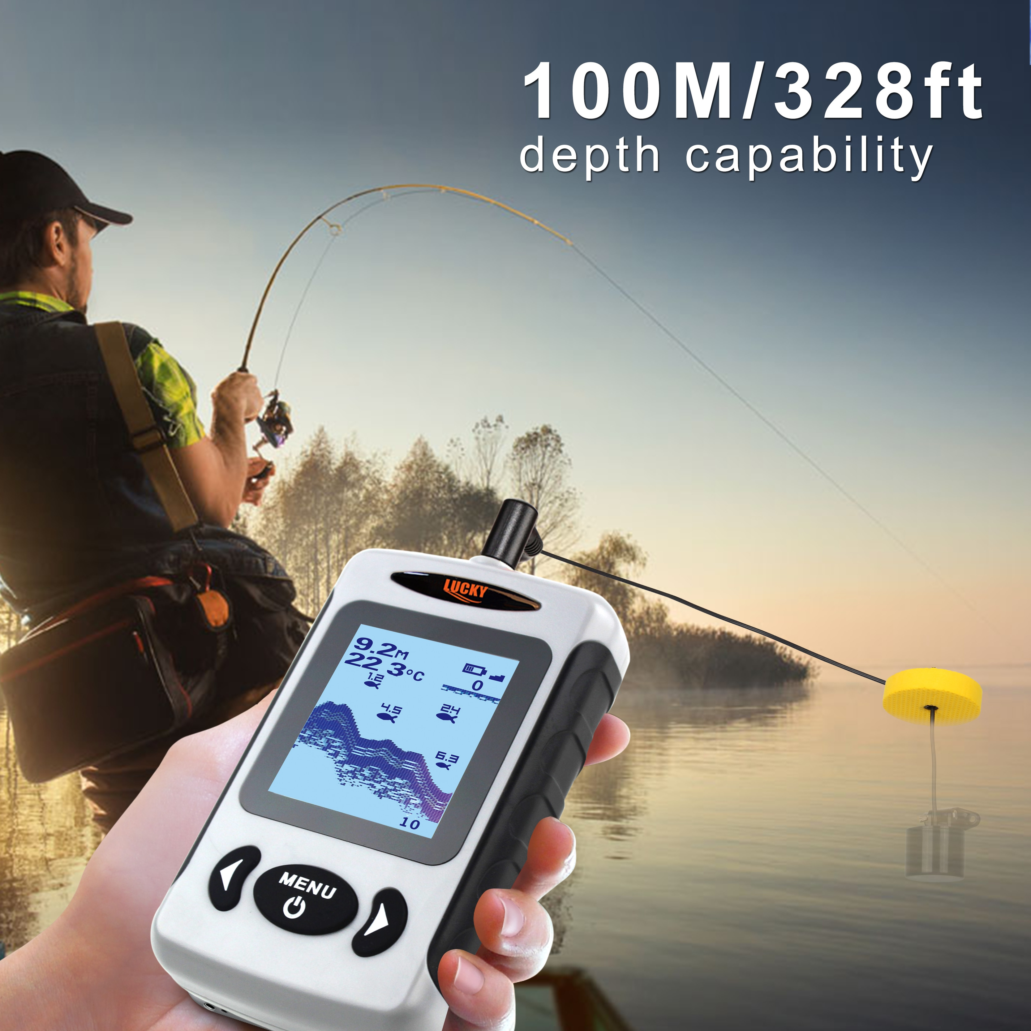 2.2inch LCD Portable Fish Finder 200KHz/83KHz Dual Sonar Frequency 100M Detector for Ice Fishing Tackle enlarge