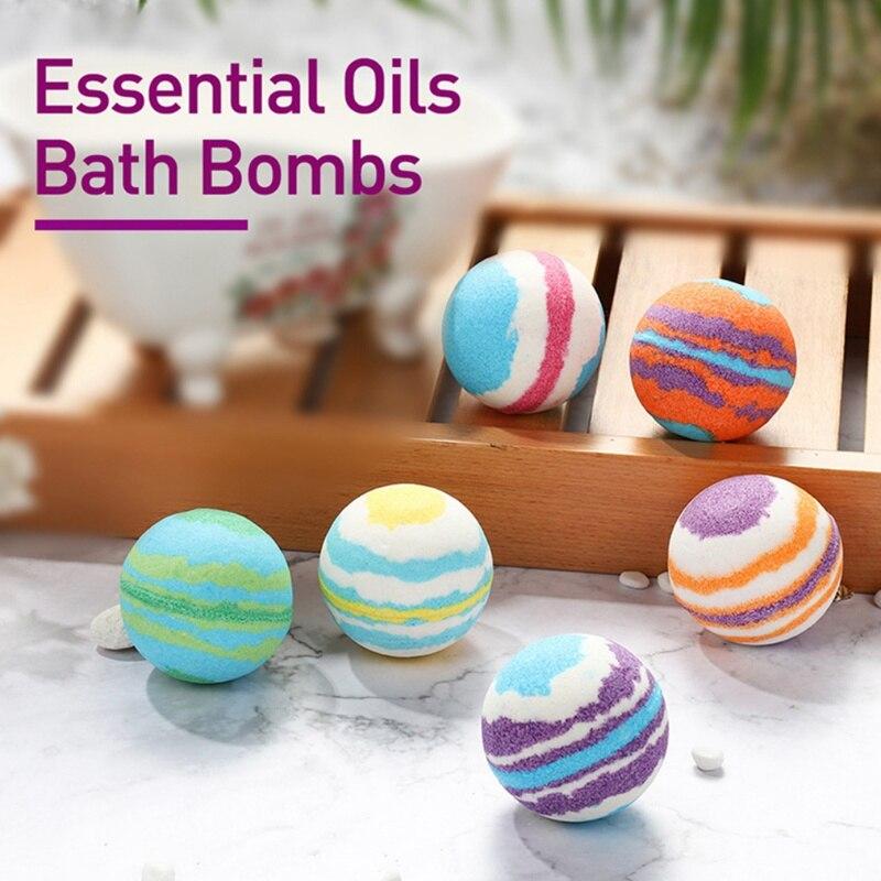 6 piezas de baño sal bola cuerpo blanqueamiento de la piel alivio del estrés burbujas naturales ducha bombas bola cuerpo limpiador de la piel cuidado