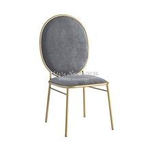 Luxe nordique Ins salle à manger chaises maison Restaurant dossier tissu chaise maison maquillage chaise moderne tabouret Net rouge Dressing tabouret