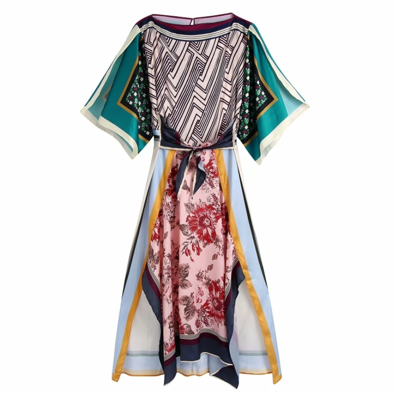 Hot البيع النساء هندسية وضع طباعة مائل الرقبة ميدي فستان الإناث ملابس قصيرة الأكمام سيدة عادية فضفاض Vestido D8297