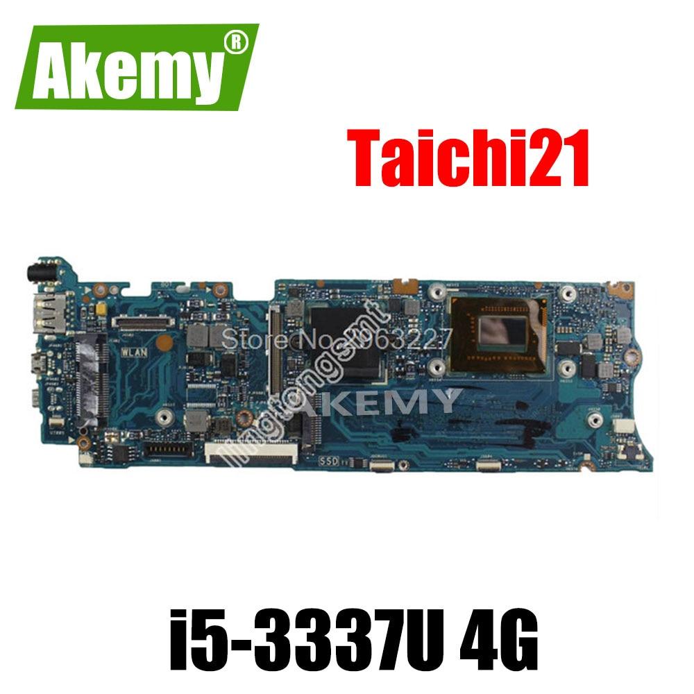 Placa base para ordenador portátil For For For For Asus Taichi21 con CPU i5-3337u 90R-NTFMB1500Y/60-NTFMB1501 100% totalmente probada