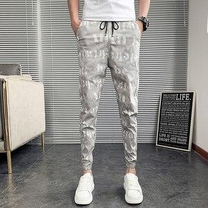 Summer Thin Harem Pants Men Fashion 2021 Korean Slim Fit Men Casual Letter Pants Streetwear All Match Joggers Trousers Men 36-28