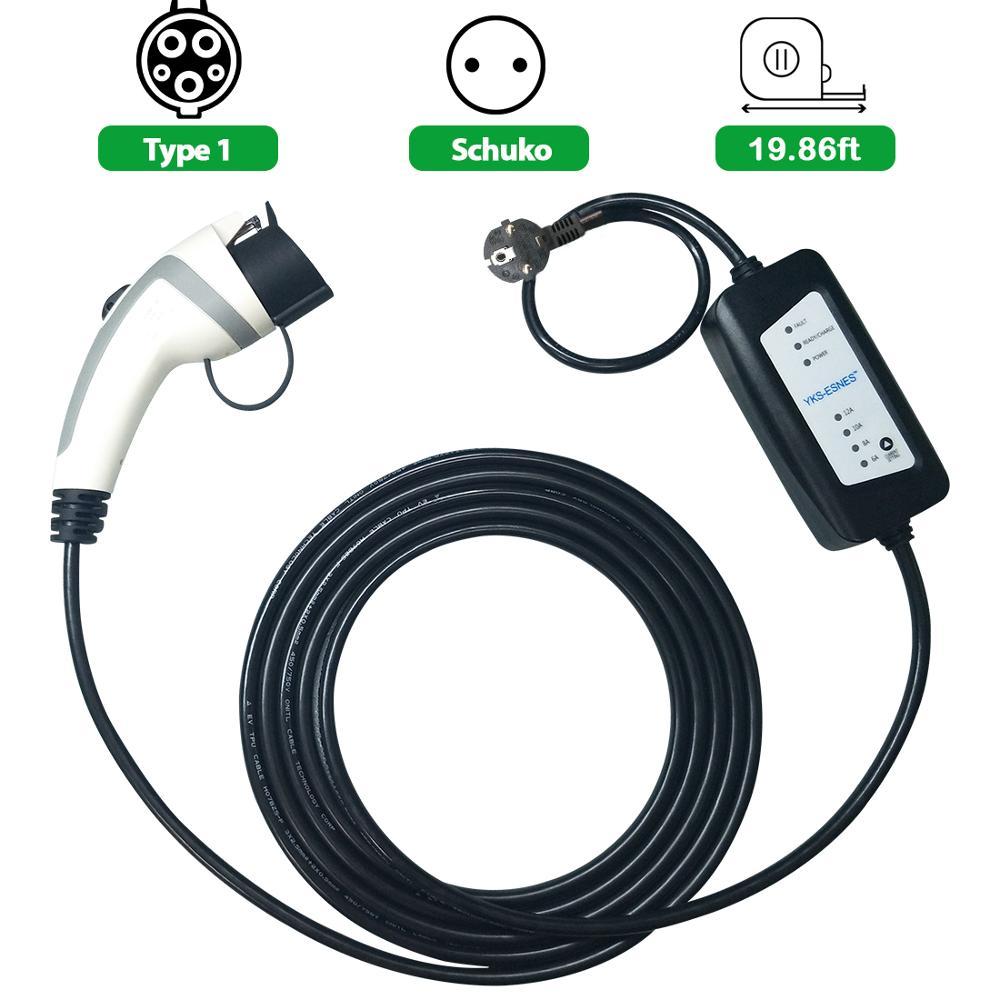 YKS-ESNES J1772 cable de carga EVSE 5m 6A 10A 12A enchufe schuko ajustable para cargador ev tipo 1