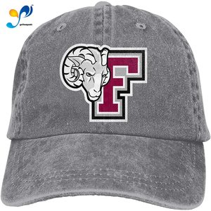 Unisex Mens&Womans Denim Adjustable Hat Print With For Country And Fordham University Logo Pigment Dyed Cap