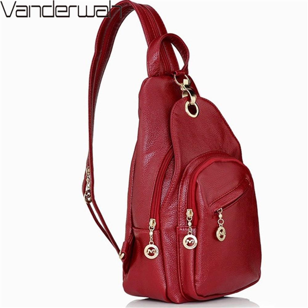 3-in-1 2019 Back Pack High Quality Leather Backpack Women Chest Bag College Wine School Bags For Teenage Girls Mochila Feminina