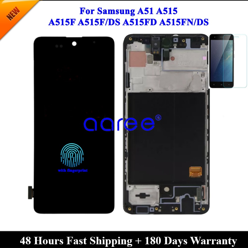 OLED LCD With fingerprint  For Samsung A51 2020 A515 LCD A515F lcd For Samsung A515 A515F  LCD Screen Touch Digitizer Assembly enlarge