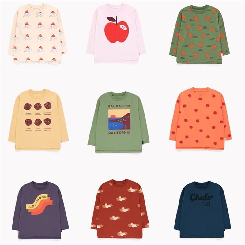 2019 niño Niñas Ropa de otoño Tops de marca de los niños Camiseta de manga larga bebé Apple shell impresión Tops niños suerte carta