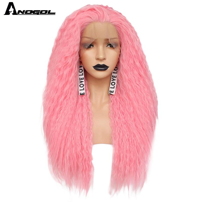 Аногол свободная часть Высокая температура волокна длинные кудрявые красный розовый оранжевый желтый блонд смешанный синтетический кружевной передний парик для женщин