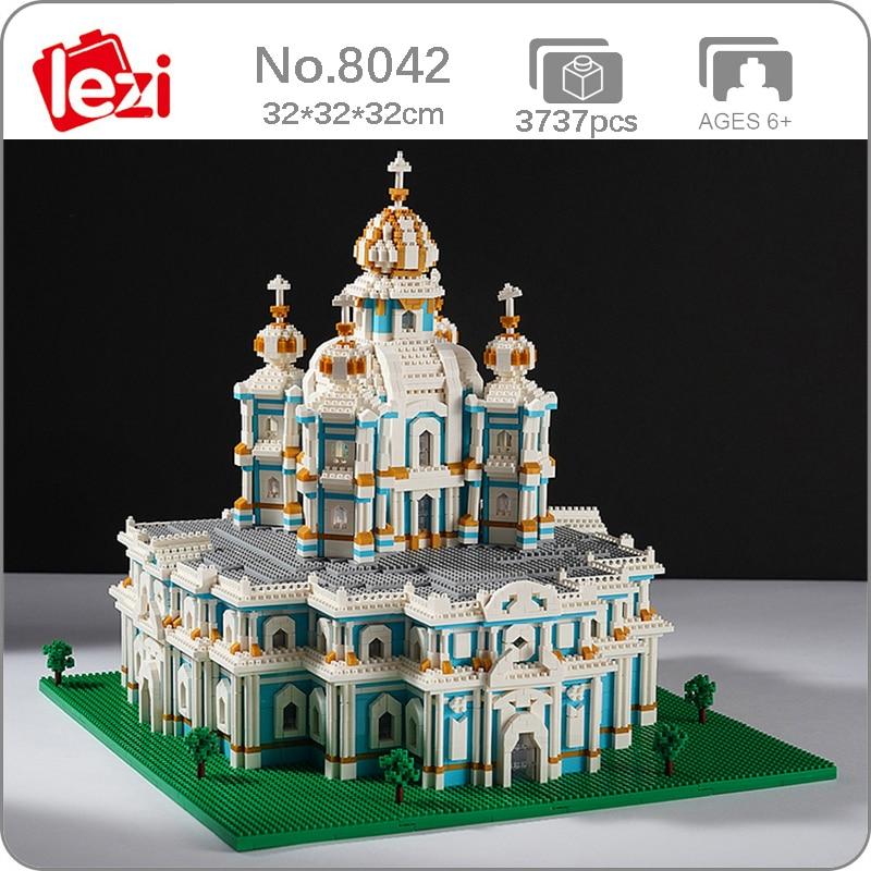 Lezi 8042 العمارة العالمية روسيا Smolny دير الكنيسة نموذج ثلاثية الأبعاد كتل الماس الصغيرة الطوب بناء لعبة للأطفال لا صندوق