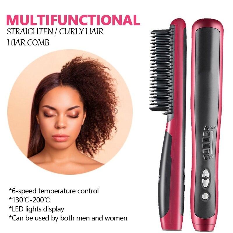 Venda superior alisador de cabelo pente anti-escald dentes design cerâmica alisamento ferro aquecimento quente elétrico cabelo barba estilo escova