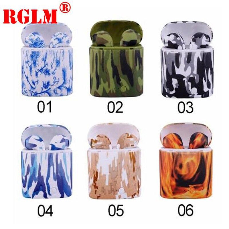 Auriculares inalámbricos RGLM i7s TWS Mini coloridos con dibujo Bluetooth con caja de carga, Auriculares deportivos para todo el teléfono inteligente