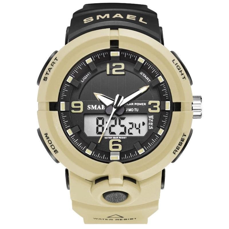 Relógios de Pulso Moda Energia Solar Relógios Smael Relógio Masculino Multifuncional Esportes Duplo Tempo Quartzo Preço Barato Dropshopping 2021