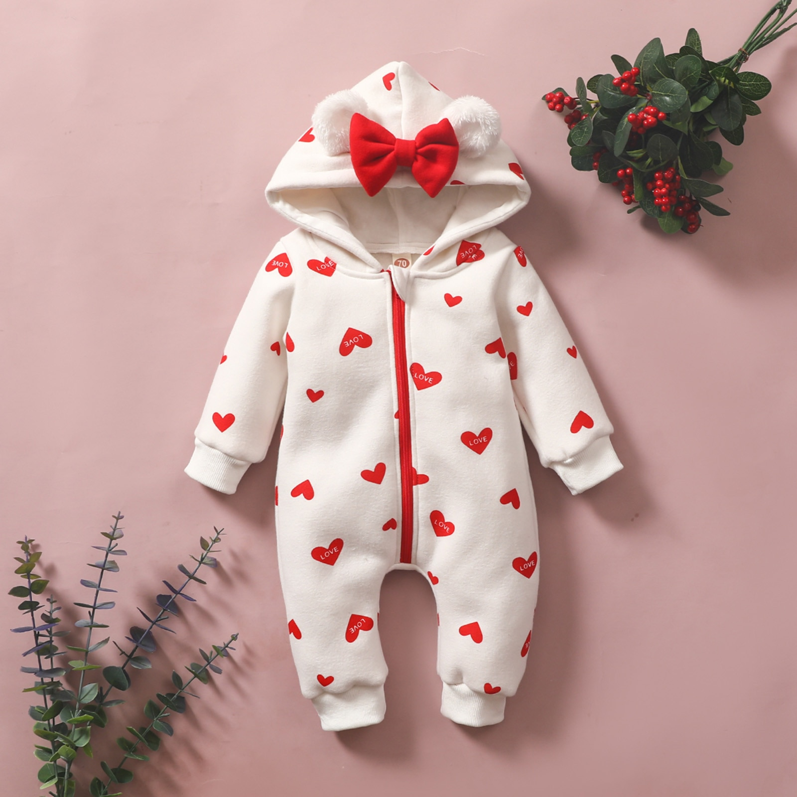 Newborn pajamas home service baby girl cartoon heart-shaped print princess jumpsuit romper pajamas слипы для новорожденных 6*