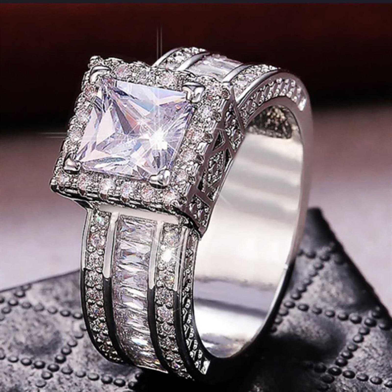 Anillo de bodas con diamante de imitación para mujer, Gema de corte...