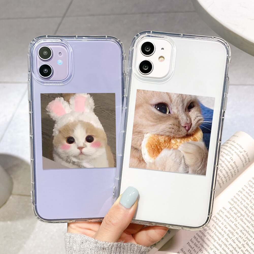 Cute Cat Soft Case For iPhone 11 Cases Transparent Cover On iPhone11 12 Pro Max 7 8 XR XS X 6 6S Plu