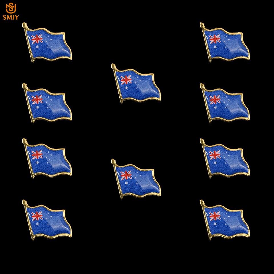 10 pçs requintado australiano esmalte bandeira broche lapela jaqueta/gravata metal lembrança crachá pino para crianças presente de aniversário