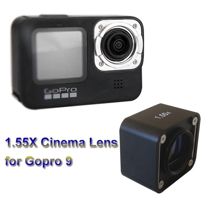 1.55X سينما عدسة ل Gopro 10/9 عريضة نحى الضوء الأزرق غير متبلور HD عدسة ل Gopro 9 كاميرا الملحقات