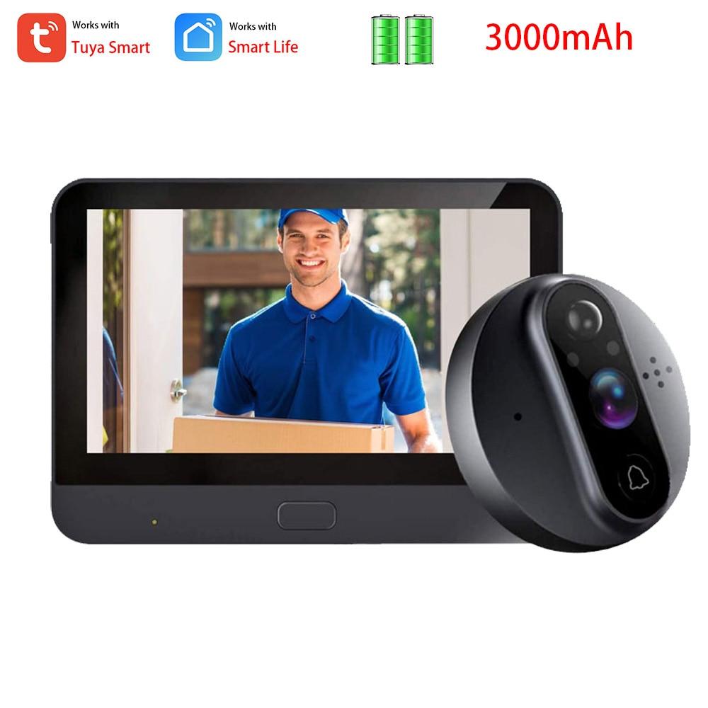 Smart Tuya WiFi 720P Peephole Video doorbell Camera 4.3 Inch Viewer Home PIR HD Night vision Tuya Smart Life APP Live View