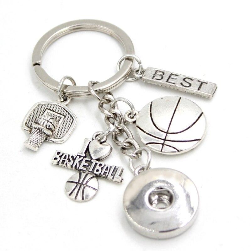 1 pc nova chegada 18mm snap jóias basquete chaveiro bolsa charme eu amo basquete snap chaveiro presente para mulheres masculinas