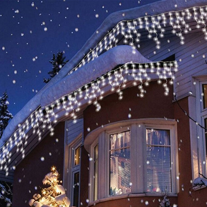 5M Outdoor Christmas Light Curtain Icicle String Light Droop 0.4-0.6m Garland Curtain Lamp Holiday Decoration For Home Window