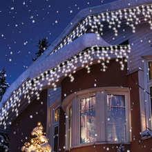 Уличная рождественсветильник Гирлянда-занавеска в виде сосулек, 5 м, светящаяся гирлянда-занавеска в виде сосулек, 0,4-0,6 м, праздничное украш...