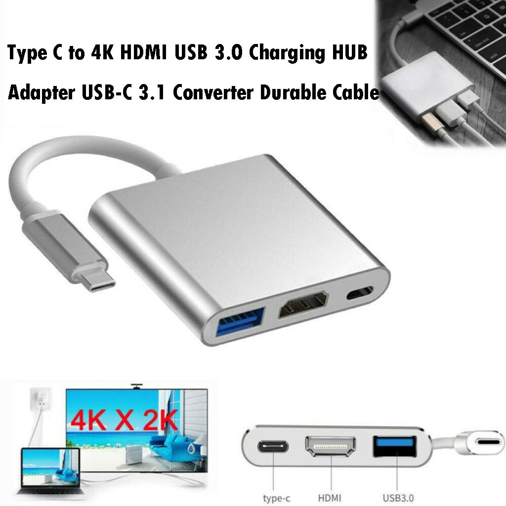 Tipo C USB 3,1 a USB-C 4K HDMI USB 3,0 adaptador 3in1 Hub para Apple Macbook nuevo HDMI usb3.1 Cable adaptador Dropshipping. Exclusivo.