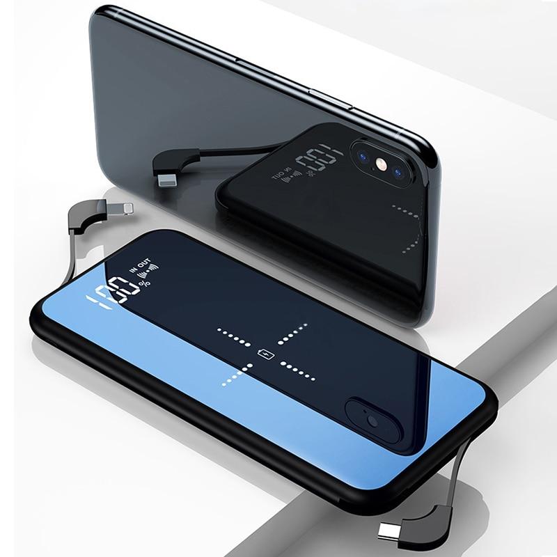 Slim 10000mAh Qi Wireless Charger Power Bank For Xiaomi Mi 9 iPhone Portable External Battery Fast Wireless Charging Powerbank