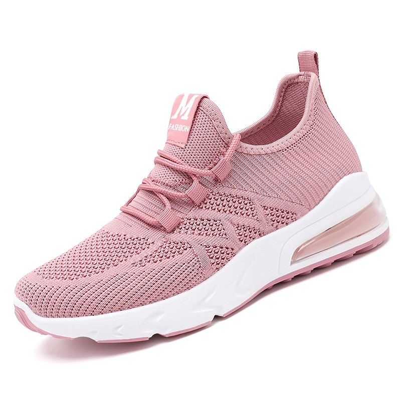 Women Vulcanized Shoes Flats Solid Knitted Air Lace Up Casual Sneakers Breathable Round Toe Female Autumn Shallow Sneakers