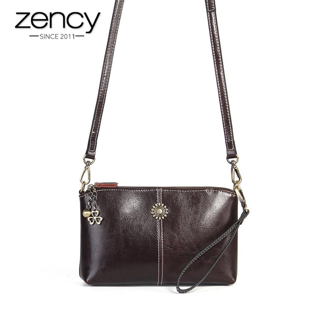 Zency 100%, bandolera Retro de piel auténtica para mujer, bolso de mano para el día, bolsos de hombro tipo bandolera para mujer a la moda, bolso de mano negro y marrón