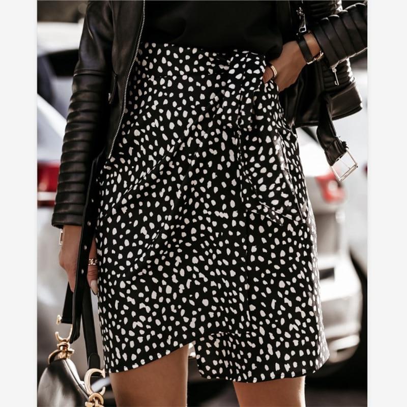 Мини-юбка женская с запахом, Повседневная облегающая элегантная Асимметричная облегающая короткая юбка с леопардовым принтом и цветочным ...