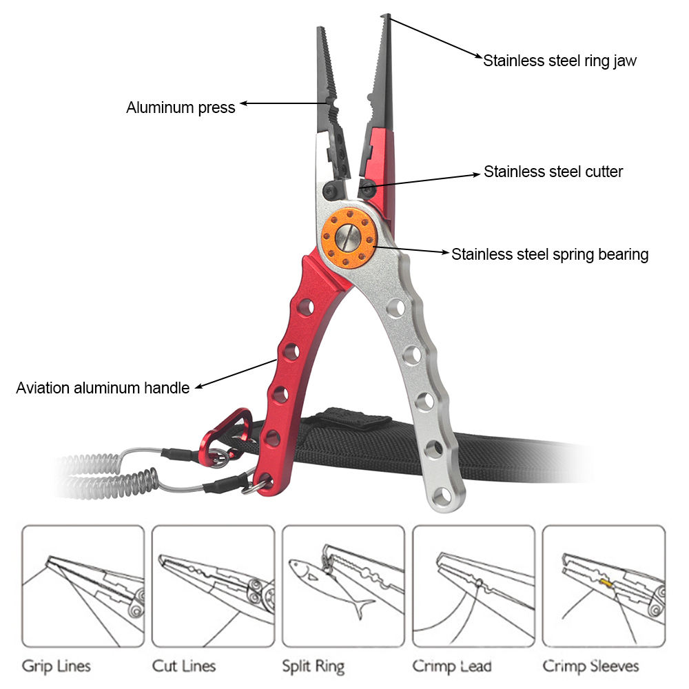 Fishing Pliers Fishing Tools Line Cutter Multifunctional Knot Aluminum Alloy Scissors Hook Remover 150g 20CM Fishing Equipment enlarge