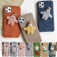 Plush Cloth Phone Case For iPhone 11 Pro 6 6S 7 8 Plus X XS XR Max Diy Starfish Mushroom Hat Rabbit Deer Animal Back Cover Coque