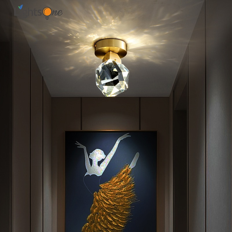Luz de cristal luxo corredor luz teto simples e moderno criativo entrada casa vestiário todo o cobre lâmpada do teto