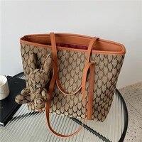 autumn letters printing fabric big tote shoulder bags for women brand designer large capacity shopper work ladies handbags 2021