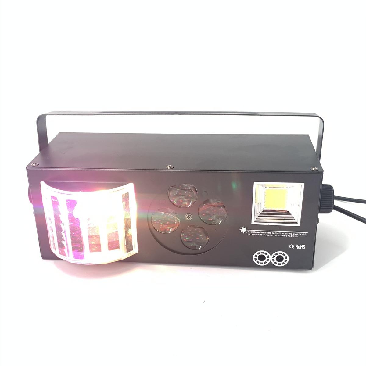 Luces de escenario LED DJ Disco luz 60W LED Gobo + estroboscópico LED + láser + LED mariposa efecto 4in1 luz para KTV Disco DJ fiesta luz Show