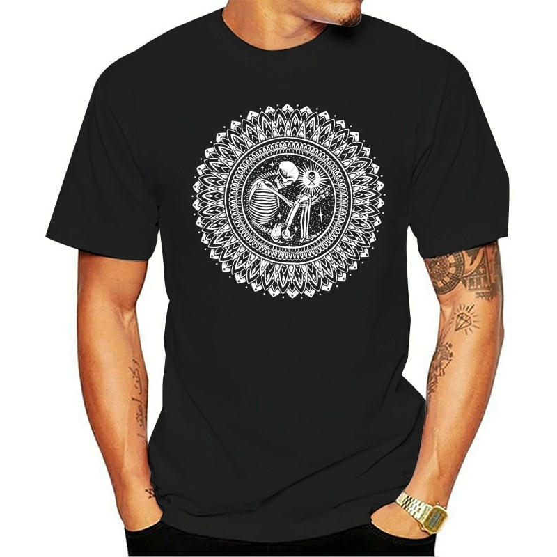 Camiseta de S-3XL t do artista da tatuagem do preto da mandala do esqueleto do sorak do coletivo da arte sullen