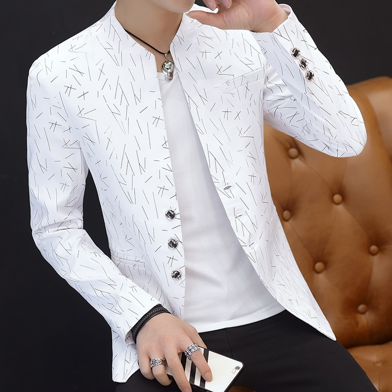 2020 men's fashion print blasers youth collar hot stamping casual blazers