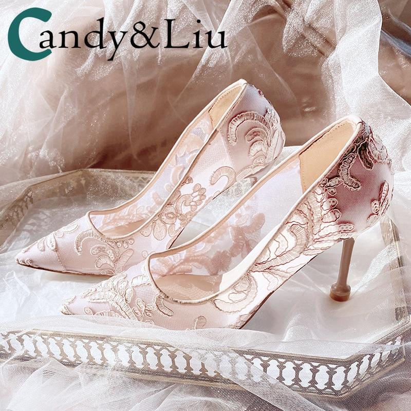 حذاء زفاف نسائي بكعب عالٍ مطرز على شكل سحابة خفيفة ، حذاء زفاف شبكي بكعب رفيع ، 2020